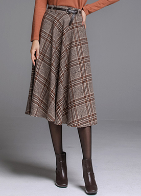 Check Print Belt Set Long Flared Skirt, Styleonme