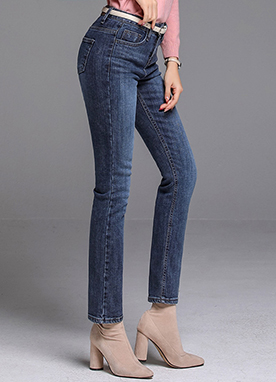 Vintage Blue Wash Brushed Straight Leg Jeans, Styleonme