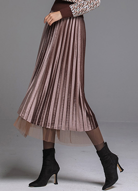 Reversible Velvet Mesh Pleated Long Skirt, Styleonme