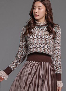Puff Sleeve Patterned Knit Sweater, Styleonme
