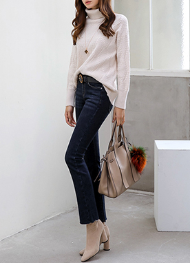 Brushed Semi-Boot Cut Jeans, Styleonme