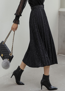 Metallic Pleated Long Skirt, Styleonme