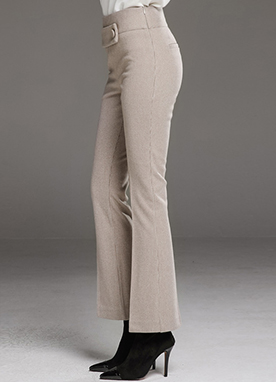 Button Tab Boot-Cut Slacks, Styleonme