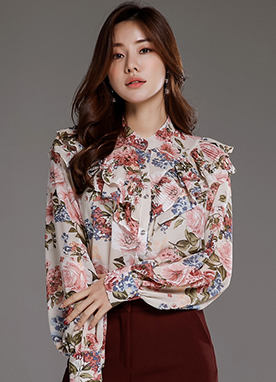 Rose Print Pleated Ruffle Blouse, Styleonme
