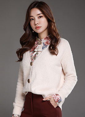 Gold Button Soft V-Neck Cardigan, Styleonme