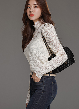 Floral Lace High Neck Blouse Tee, Styleonme