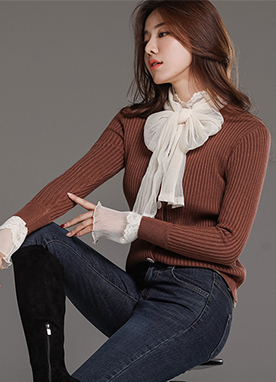Scarf Accent Ribbed Cardigan, Styleonme