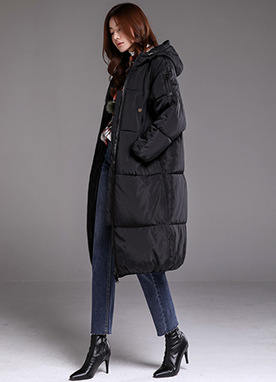 Hooded Long Padded Coat, Styleonme