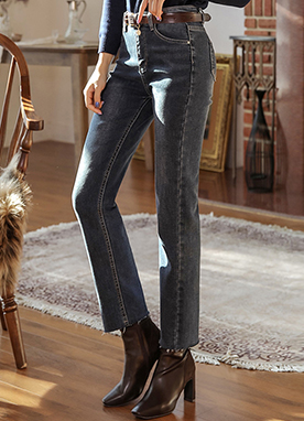 Two Button Straight Leg Jeans, Styleonme