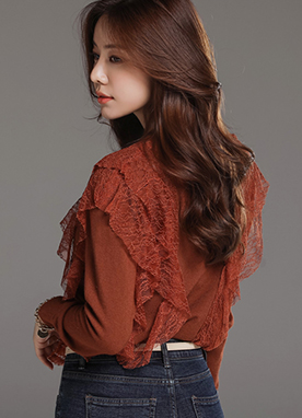 Lace Detail Round Neck Knit Top, Styleonme