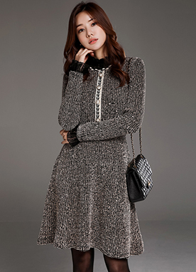 Pearl Button Tweed Flared Dress, Styleonme