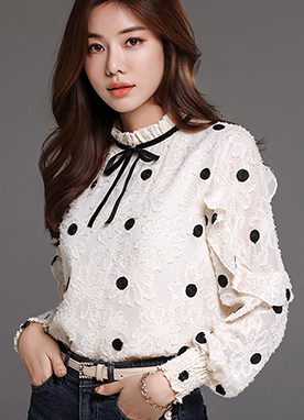 Dots & Flowers Ribbon Tie Blouse, Styleonme