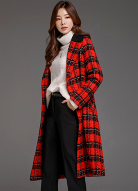 Red Check Print Long Double-Breasted Coat, Styleonme