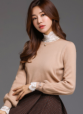 Semi-Puff Ribbed Sleeve Knit Top, Styleonme