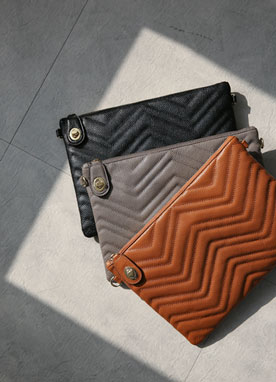 Quilted Leather Clutch Bag, Styleonme