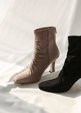 Suede Shirred Ankle Boots, Styleonme