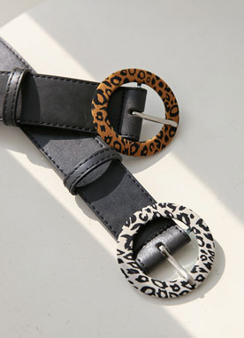 Leopard Patterned Buckle Leather Belt, Styleonme