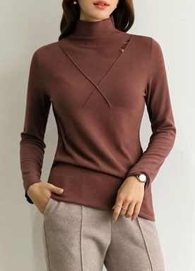 Button Detail Mock Neck Tee, Styleonme