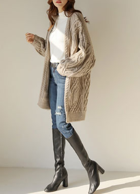 Cable Knit Loose Fit Cardigan, Styleonme
