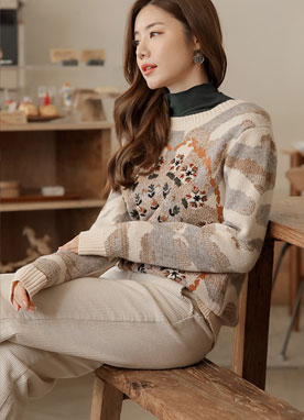 Sun Flower Embroidered Knit Sweater, Styleonme