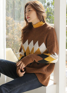 Round Neck Argyle Knit Sweater, Styleonme