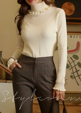 Frill Turtleneck Knit Top, Styleonme