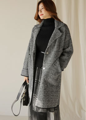 Oversized Two Button Knit Coat, Styleonme