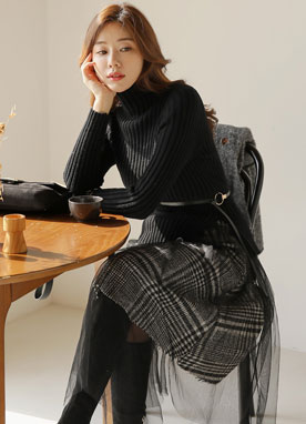 Turtleneck Knit Top Mesh Check Skirt Set, Styleonme