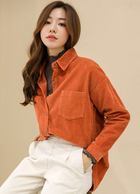 Corduroy Collared Shirt, Styleonme