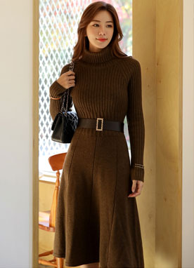 Wool-Blend Turtleneck Flared Dress, Styleonme