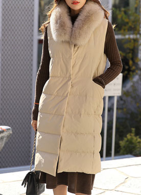 Down Long Padded Vest, Styleonme