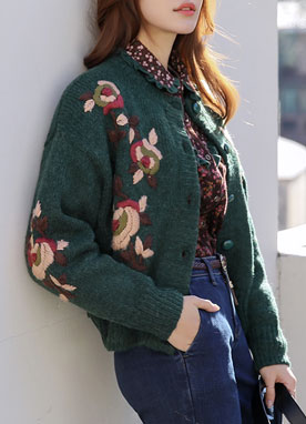 Flower Embroidered Knit Cardigan, Styleonme
