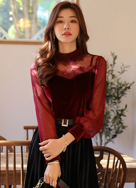 See-through Polka Dot Velvet Lace Blouse, Styleonme