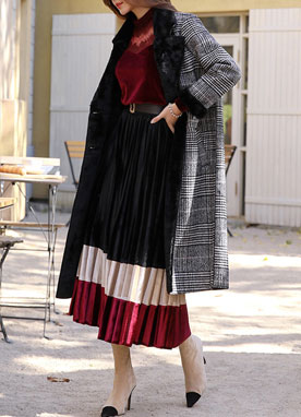 Three Color Velvet Long Pleated Skirt, Styleonme