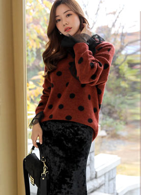 Polka Dot Knit Sweater, Styleonme