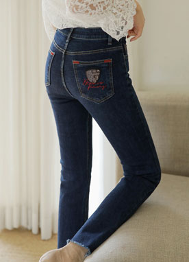 Pocket Lettering Brushed Boot-Cut Jeans, Styleonme