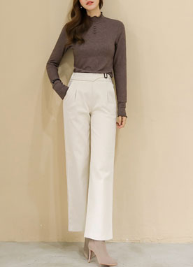 Brushed Cotton Wide Leg Pants, Styleonme