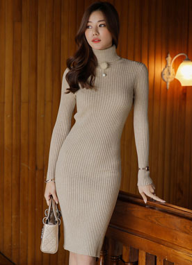 Turtleneck Ribbed Knit Dress, Styleonme