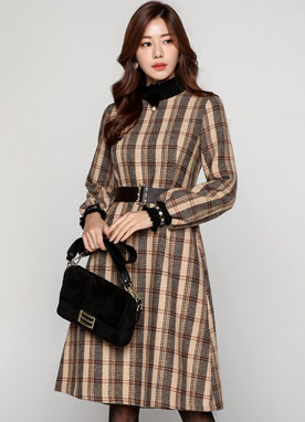 Check Print Turtleneck Knit Dress, Styleonme