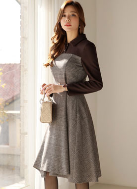 Check Print Collared Flared Dress, Styleonme