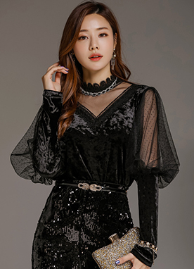 See-through Puff Sleeve Velvet Blouse, Styleonme