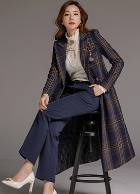Check Print Quilted Lining Tailored Long Coat, Styleonme