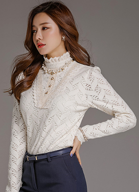 Leaf Motif Brushed Lace Blouse Tee, Styleonme