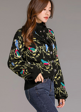 Colorful Bird Print Ribbon Tie Knit Cardigan, Styleonme