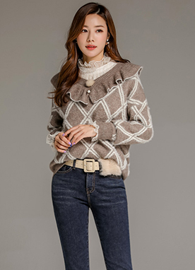 Diamond Check Print Ruffle Knit Sweater, Styleonme