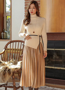 High Neck Knit Top Velvet Pleated Skirt Set, Styleonme