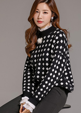 Dot Print Lace Trim Loose Fit Knit Sweater, Styleonme