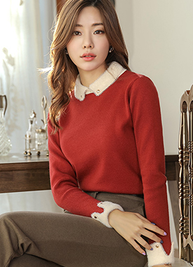 Fuzzy Collar and Cuff Knit Top, Styleonme