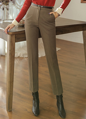 Side Slit Ankle-Length Straight Leg Slacks, Styleonme