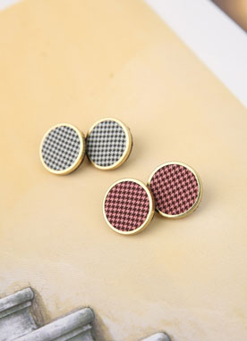Check Print Round Earrings, Styleonme